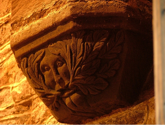 One of the three famous Green Men in St. Jerome�s Church, Llangwm, Gwent, South Wales, which first interested Lady Raglan (photo John Harding)