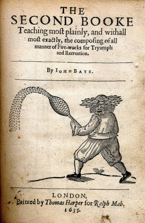 John Bate's 1635 book on fireworks showing a 'Green Man' fireworks technician (photo licensed for re-use)