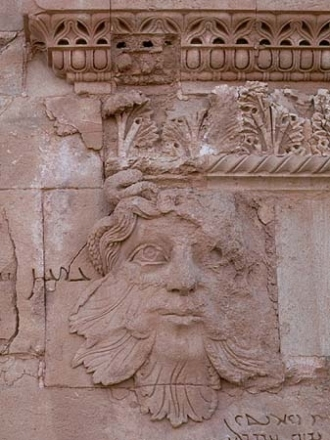 Mesopotamian Green Man (c. 3rd - 1st Century BCE) in the ruined desert city of al-Hadr (or Hatra), Iraq