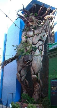 A 12m tall sculpture of a Green Man by Tawny Gray (Toin Adams) at the Custard Factory, Birmingham, England